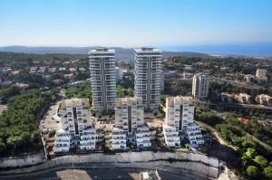 חברת מנרב בע''מ- פרויקט המגורים היוקרתי ''מנרב בשמורה''  בשכונת סביוני דניה בחיפה. הדמיה ארקריאטיב והאדריכל דני בסנוסוב