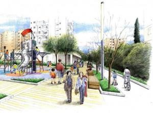 פארק אריאל שרון. יכלול בריכה אקולוגית, תאורת שבילים משודרגת ואזורי משחקים. הדמיה: חברת מילר בלום (אדריכלי נוף)
