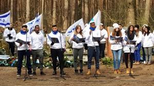 הטקס ביער לופוחובה, שם נרצחו בבורות ההריגה כל 3,000 יהודי טיקוטין. צילום: עיריית ק. ביאליק