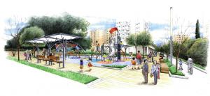 """בתמונה: הדמיה של הפארק. """"בשנתיים הקרובות תשקיע עיריית קרית ביאליק כ-22 מיליון שקלים בפיתוח, שדרוג ושיקום פארקים ציבוריים ברחבי העיר"""""""