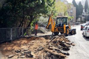 בתמונה: תחילת העבודות ברחוב בן יהודה. צילום: דוברות עיריית חיפה